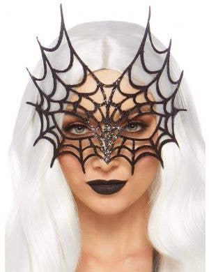 Glitter Die Cut Black Web Masquerade Mask
