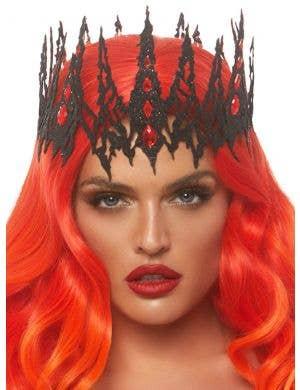 Glitter Die Cut Women's Black Jewelled Crown Costume Accessory
