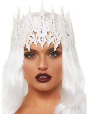Glitter Die Cut Women's White Jewelled Crown Costume Accessory
