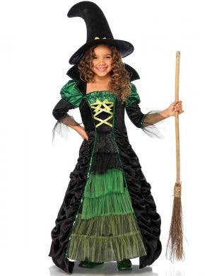 Storybook Girl's Deluxe Green Witch Halloween Costume