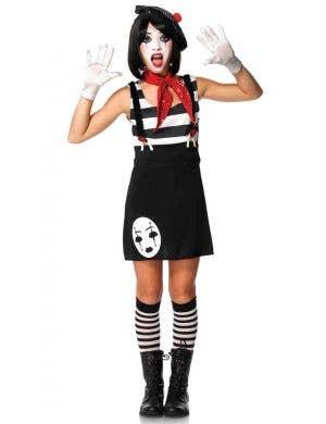 Teen Girls Mime Fancy Dress Costume Main Image