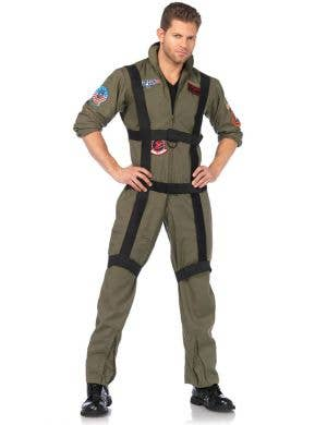 Men's Deluxe Top Gun Pilot Costume Front View