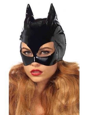 Black Vinyl Women's Catwoman Costume Mask Main Image