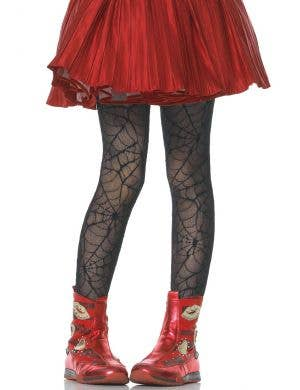 Girls Black Spider Web Halloween Costume Tights