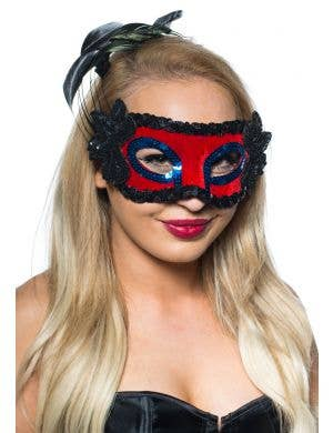 5 Pack -Red And Black Side Feather Women's Masquerade Mask- Bulk Buy Special