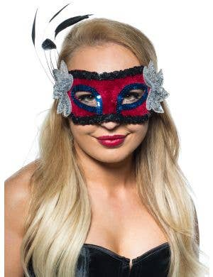 Special Bulk Buy 5 Pack - Feather Spray Masquerade Mask in Red and Silver
