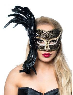 Women's Gold Side Feather Masquerade Mask Main Image