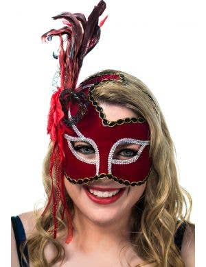 Red Velvet Masquerade Mask With Side Feathers View 1