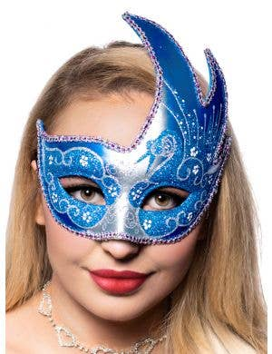 Women's Swan Venetian Mask In Silver And Blue Glitter On