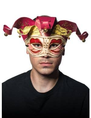 Half Face Red Musical Jester Men's Masquerade Mask Front