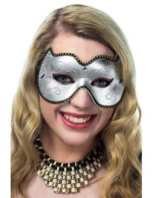 Simple Adults Silver Vinyl Masquerade Mask Female View