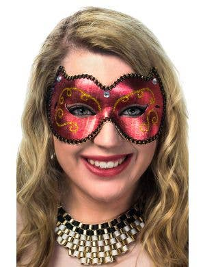 Red Vinyl Adults Simple Masquerade Mask Female View