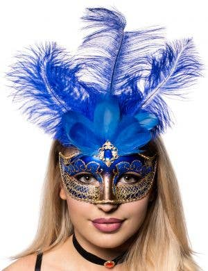 Blue And Gold Women's Tall Feather Masquerade Mask