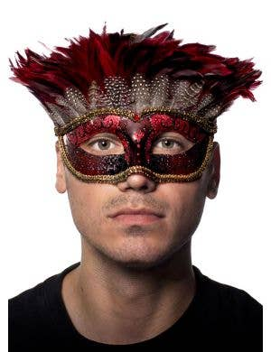 Men's Red Tribal Mystery Feather Masquerade Mask View 1
