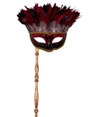 Mystery Red Feather Masquerade Mask with Handle