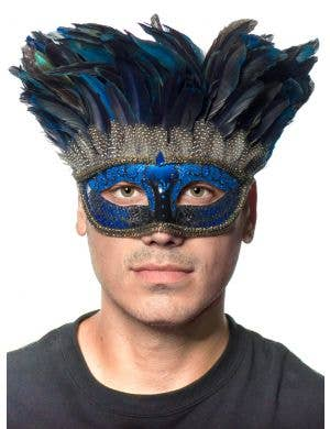 Mystery Blue Feather Tie On Masquerade Mask