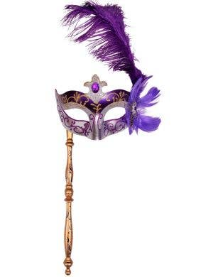 Purple And Silver Hand Held Side Feather Masquerade Mask Main Image