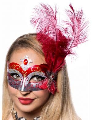Deep Red And Silver Side Feather Plume Masquerade Mask Front On