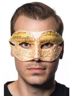 Men's Music Notes White Antique Venetian Mask Main Image