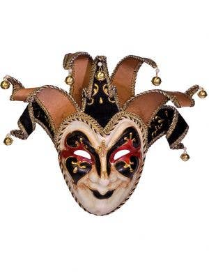 Black And Cream Deluxe Full Face Jester Masquerade Mask Main View