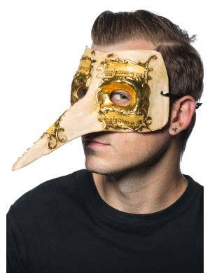 Cream and Gold Men's Long Nose Music Notes Masquerade Mask Main
