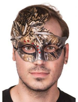 Bronze and Silver Autumn Leaves Men-s Masquerade Mask - Front View
