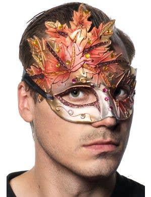 Men's Orange Autumn Leaf Venetian Mask Main Image