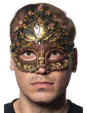 Men's Copper And Bronze Center Overlay Venetian mask Main Image