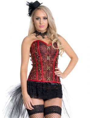 Brocade Steampunk Corset in Red