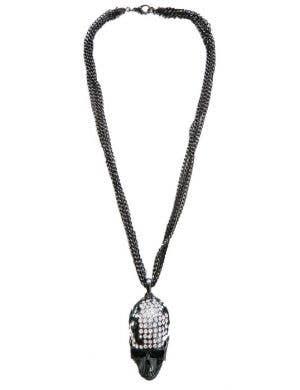 Gun Metal Black Rhinestone Skull Necklace