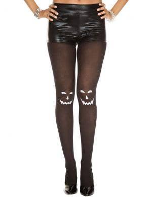 Jack O Lantern Women's Black Halloween Stockings