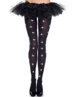 Spider Print Women's Black Opaque Halloween Stockings