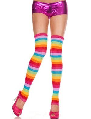 Rainbow Striped Thigh High Leg Warmers