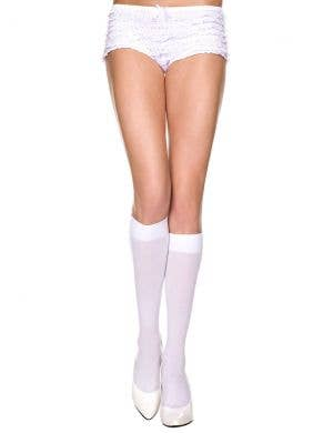 Knee High White Opaque Women's Stockings