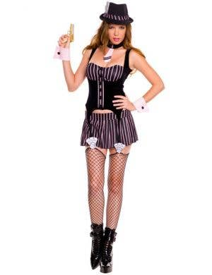 Sexy Women's Pinstriped Gangster Costume Front View