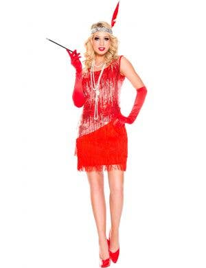 Great Gatsby Women's Red Flapper Dress Up Front View