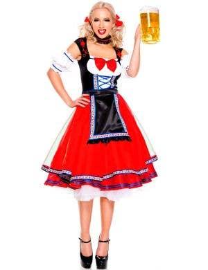 Women's Red German Beer Girl Costume Main Image