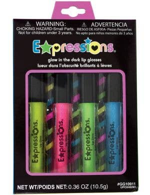 Expressions Glow in the Dark Glitter Lip Gloss - 4 Pack