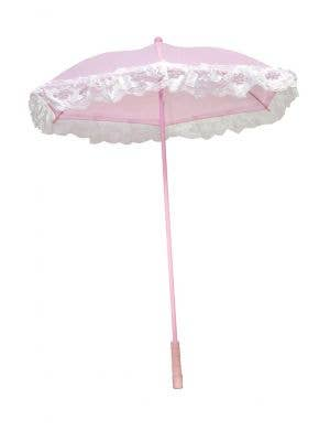 Victorian Pink and White Lace Parasol Costume Accessory