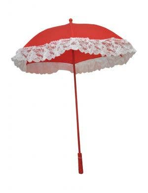 Victorian Red and White Lace Parasol Costume Accessory