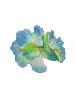 Hawaiian Hibiscus Large Blue Flower Hair Clip Costume Accessory