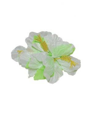 Hawaiian Hibiscus Large White And Green Flower Hair Clip Costume Accessory