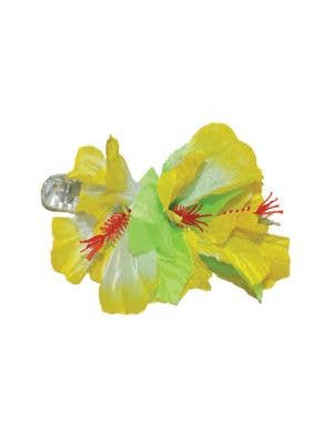 Women's Large White And Green Hibiscus Hawaiian Flower Hair Clip Costume Accessory Main Image
