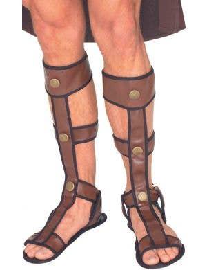 Gladiator Men's Adjustable Brown Roman Costume Sandals