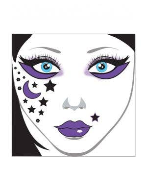 Black Glitter Stick On Face Tattoo Makeup With Foam Spiders And Black And Purple Diamontes Main Image