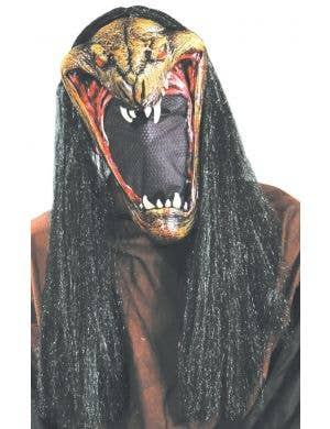 Viper Men's Latex Halloween Snake Mask With Hair