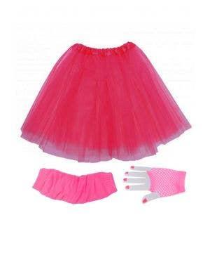 Neon Pink Women's 80's Tutu Accessory Set