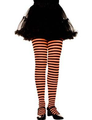 Striped Girls Costume Tights - Orange and Black