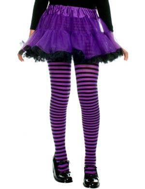 Striped Girls Costume Tights - Black and Purple