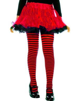Striped Girls Costume Tights - Black and Red
